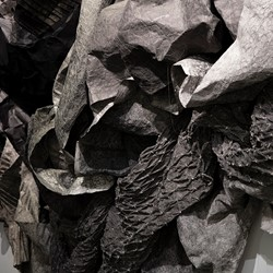 Susan Roux, (un) fold (detail), 2019, Canson paper, ink, thread, and polish, dimensions variable. Photo Bo Wong