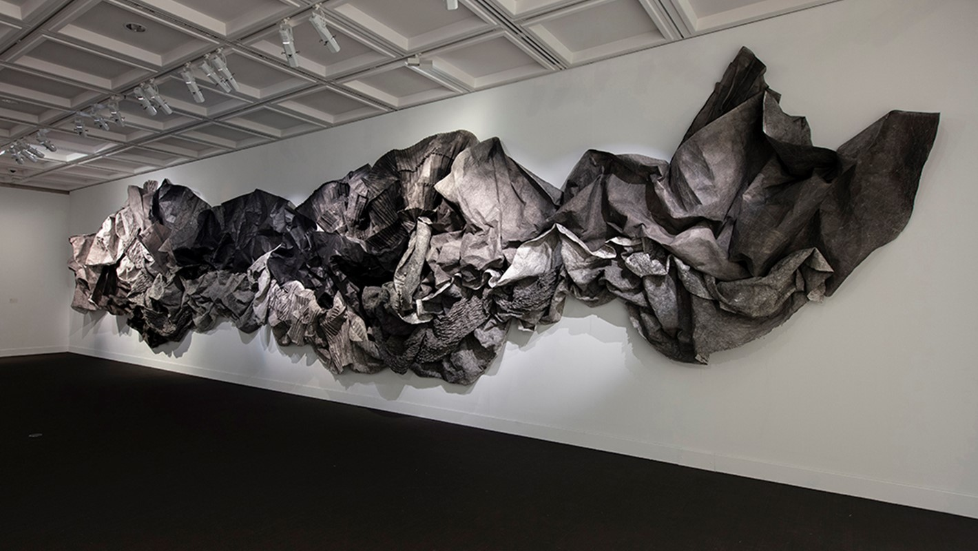 Susan Roux, (un)Fold, 2019, installation shot, Here&Now, Lawrence Wilson Art Gallery. Photo: Bo Wong