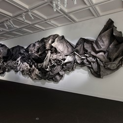 Susan Roux, (un)  fold, 2019, Canson paper, ink, thread, and polish, dimensions variable. Photo Bo Wong