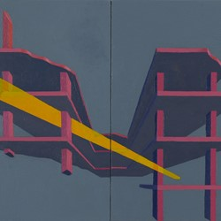 Caspar Fairhall, Double Remnant, 2019, acrylic and oil on panel, 25 x 50cm (diptych)