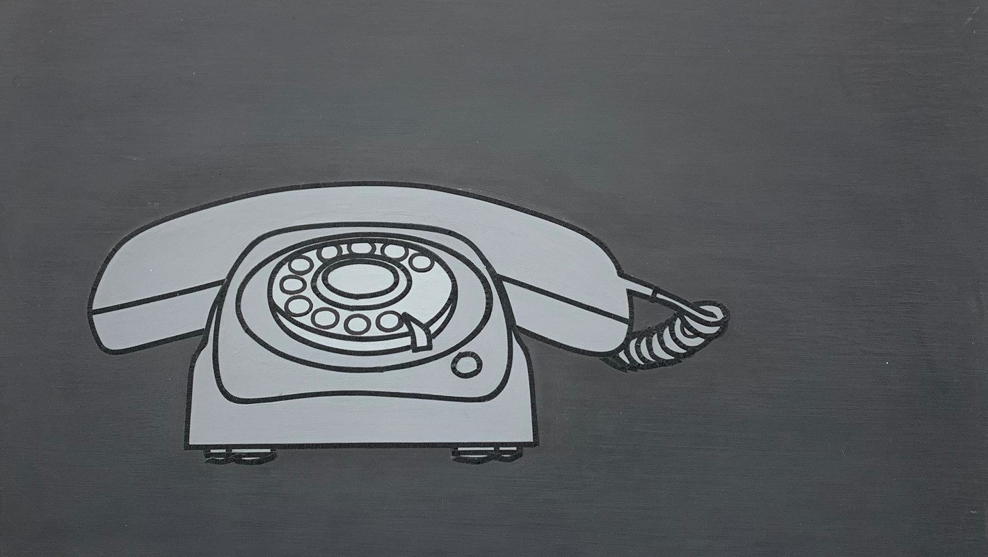 Carol Rudyard, Untitled (black telephone landscape), oil on board, 29 x 42cm