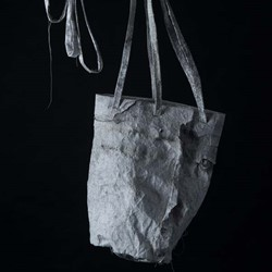 Susan Roux, Ditty Bag, 2018, Canson paper, thread, ink, carbon, 30 x 20 x 20cm