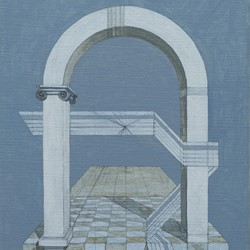 Caspar Fairhall, Arch and Enigma, 2015-17, oil on Belgian linen,  40.5 x 30cm