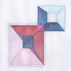 Caspar Fairhall, Parallel Space, 2019, watercolour on paper, 26 x 26cm