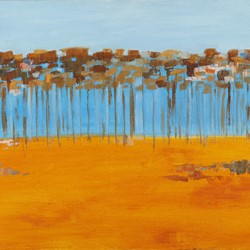 Carol Rudyard, Pine Plantation Abstract study at WAIT (Curtin University), 1962, acrylic on canvas, 44 x 56cm
