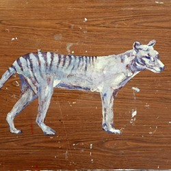 Ron Nyisztor, Thylacine, 2019, oil on vinyl on found wooden laminated board, 60 x 90cm