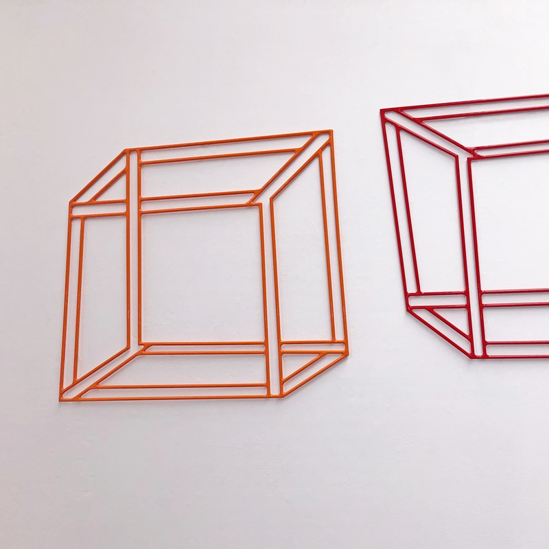 Jennifer Cochrane, Impossible Shadow #25 (Orange-Red), 2020, powder coated steel, 56 x 51cm (each)