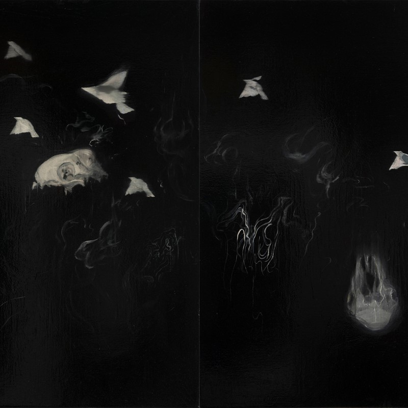 Paul Uhlmann, Landscape, Landscape (Smoke), 2019, oil on canvas, 112 x 152cm (diptych)