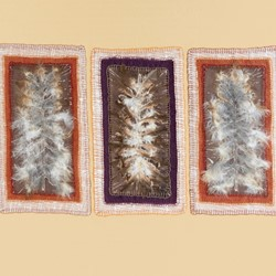 Megan Kirwan-Ward, Gathered 2, printed silk, feathers and cotton thread on cotton, 33 x 51cm