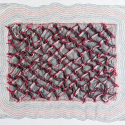 Megan Kirwan-Ward, Rift Red, cord and cotton thread on printed cotton fabric, 46 x 40cm