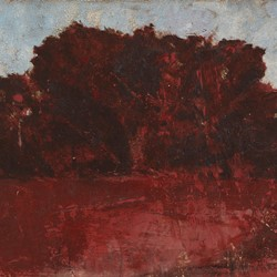 Merrick Belyea, Copse I, 2019, oil on board, 30 x 61cm
