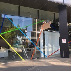Trevor Richards, C-Change installation, vinyl tape on glass, Cathedral Square 2021
