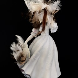 Olga Cironis, Lines that Define, repurposed porcelain ornament and feathers